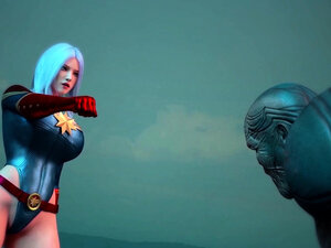 3D animacija superheroja sa velikim sisama