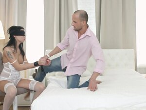 Hotel room action with tattooed Akita getting a load on her ass - Akita