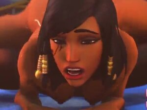 Devojka sa animacijom je teška i upucala je lepo lice sa hot-om